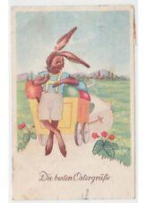 Pasqua cartolina vintage coniglio umanizzato dressed rabbit  - Pieghe