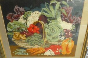 Quality framed unusual stunning autumnal vegetable embroidery tapestry XC