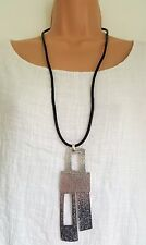 New Lagenlook Silver Colour Long Rectangle dangle Necklace Pendant