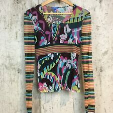 Escada Sport Italy M long sleeve stretch mesh floral abstract print blouse top B