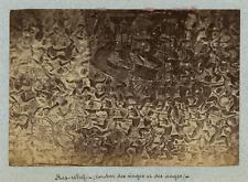 Indochine, Bas-relief. Combat des singes et des anges  Vintage albumen print.
