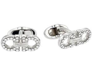 $260 Salvatore Ferragamo Men Gancini Cufflinks Silver NWT/Box