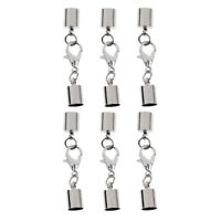 6 Pcs Stainless Steel Cord End Caps Clasp DIY Necklace Bracelet Making Craft