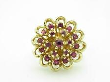14k Solid Yellow Gold Genuine Ruby Estate Vintage Flower Design Ring Size 6