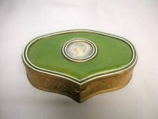 Antique French Guilloche Enamel Hand Painted Portrait Jewelry Trinket Box Old