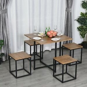 MDF Topped Steel 5-Piece Dining Set Dining Table with 4 Stools Black/Brown