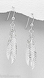 """3.68g Solid Sterling Silver Feather Cluster 1.77"""" Long Dangle Earrings"""