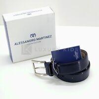 Cintura Blu In Ecopelle Con Finitura Lucida Bambino Martinez AM42110