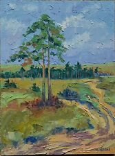 Lonely Pine in a Fied Landscape Impressionist Oil Painting 12x16 Idkowiak