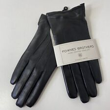 Sz M Fownes Womens Tech 3 Point Leather Faux Fur Lined Vent Cuff Gloves NWT Blck