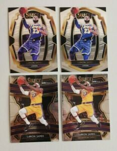 2018 & 2019 Select Lebron James 4 card lot. Includes 2 Premier First Year Lakers