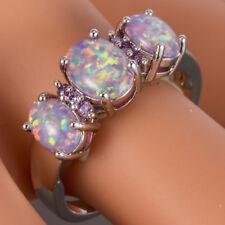 3 Lavender Purple Fire Opal Cabochon CZ Silver Jewelry Ring US Size 6 7 8 9 10