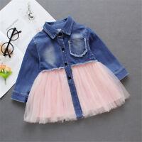 Toddler Kids Baby Little Girls Denim Tutu Tulle Dress Princess Party Dresses New