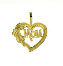 14K Solid Yellow Gold MOM Heart Talking Charm Pendant