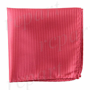 New polyester woven thin striped pocket square hankie handkerchief coral formal