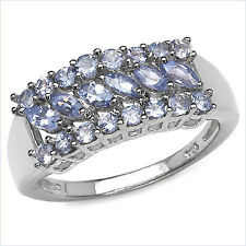 Spectacular Pure Sterling Silver Tanzanite 22 Stone Ring Size 7.0    TR112