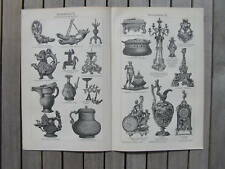 Antique litho bronzekunst brons kunst bronze art 1904 print