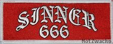 Outlaw Biker 1%er Red and White Sinner 666  Patch
