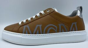$500 MCM Khaki Leather Sneakers size US 11, EU 44 Made in Italy