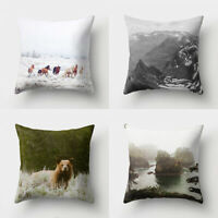 Forest Mountain Print Pillow Case Bed Waist Cushion Cover Cafe Home Decor Charm