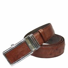 Red Brown Genuine Ostrich Skin Leather Men's Belt W: 3.5cm