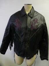 womens thick USA Bikers Leather Motor Cycles z/u lined Jacket coat rose sz Small
