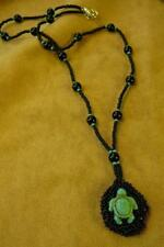 Turtle w Black Onyx Beaded Necklace - Native American Indian