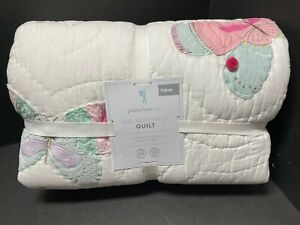 Pottery Barn Kids GIGI Butterfly TWIN White Quilt Pom Pom Sequin Bed Bedroom NEW