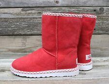 UGG Australia Womens Classic Short Red Heart Sheepskin ORIGINAL Boots US 5 NEW!