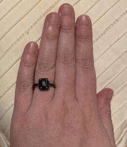Black Diamond Ring (made with Swarovski Crystals)