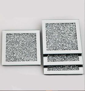 Silver Bling Crushed Diamond Elegant Stunning Set Of 4 Mirror Gatsby Coasters