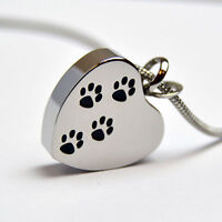 Personalised Engraved Pet Cremation Jewellery, Paws on St. Steel Heart Pendant