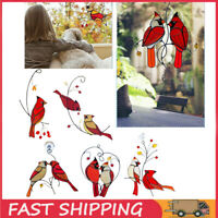 Birds Cardinals Stained Suncatcher Window Panel Hanging Ornament Home Decor