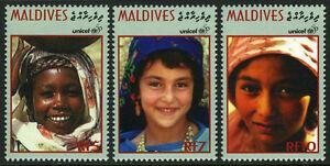 Maldives 2166-2168,MNH Unicef,50th Anniv. Filles De Différents Courses,1996