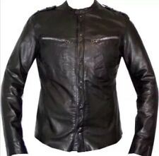 Allsaints Mens Designer Spitalfields Black Real Leather Jacket Size L