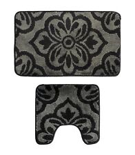 Microfiber 2 Pieces Bathroom Bath Rug Pedestal Mat Set Black Grey Floral Pattern