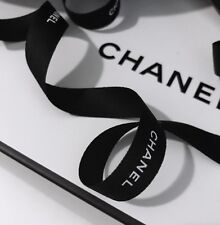 "AUTHENTIC Chanel Black Ribbon White Letters 39"" Of 5/8"" =59cm 15mm Gift & Crafts"