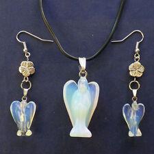 Beautiful Carved Opal Opalite Angel Earring & Necklace Set S9367