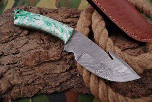 MH KNIVES CUSTOM HANDMADE DAMASCUS GUT HOOK HUNTING/SKINNER KNIFE D-74