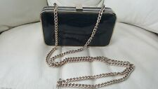 Russell & Bromley black patent leather chain box clutch bag