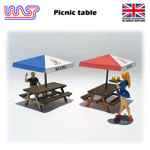 WASP Picnic table and umbrella, Pub table, bench, scenery, 1/32, kit