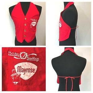 Vintage Mayrose Meat Man Red Butcher Christmas Holiday Vest Apron Uniform AC