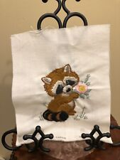 """Caron 1980 Finished Needlepoint Raccoon 9 1/4x 7 1/2""""  Completed Wall Art"""