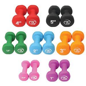 Fitness Mad Dumbbells Neoprene Hand Weights Women Ladies Gym Pair 0.5kg - 5kg