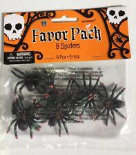 Halloween Creepy Spiders Assorted Party Favor Pack of 8 Spiders, NIP