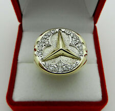 Solid 14k Two Tone gold Men's Ring Mercedes Diamond Accent 13.2 grams size 10