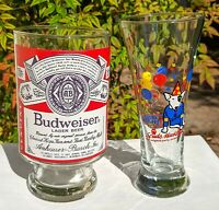 Lot of Two Vintage Budweiser Glasses Big Beer Glass & Spuds Mackenzie 1980s