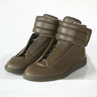 MAISON MARTIN MARGIELA brown leather hi-top strap shoes Future sneakers 40 NEW