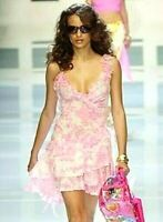 Versace Spring 2004 Runway Pink White Toile Ruffle Silk Stretch Dress US 2 IT 38