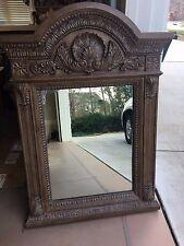 Casa Bique Distressed Ornate Large Rectangular Wood Mirror